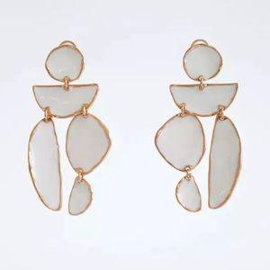 White asymmetrical shapes Zara Earrings
